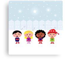 Winter Kids singing Silent Night Canvas Print