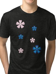 Cherry Blossoms (pink and blue) Tri-blend T-Shirt