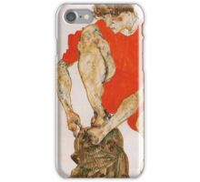 Egon Schiele - Female Model In Bright Red Jacket And Pants 1914 iPhone Case/Skin