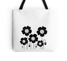 Black and white simple Flower background Tote Bag