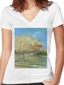 Vincent Van Gogh - Orchard In Blossom, 1888 02 Women's Fitted V-Neck T-Shirt