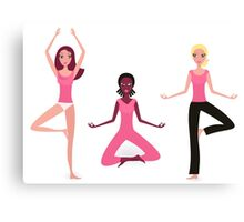 Three active women exercising yoga asana. Original hand-drawn illustration. Canvas Print
