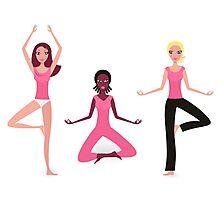 Three active women exercising yoga asana. Original hand-drawn illustration. Photographic Print