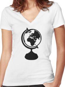 Globe Earth Women's Fitted V-Neck T-Shirt