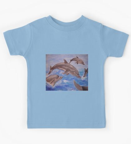 Jumping Dolphins And  Blue Sea Kids Tee