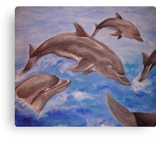 Jumping Dolphins And  Blue Sea Canvas Print