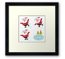 Cute series of ice skating Santas Framed Print