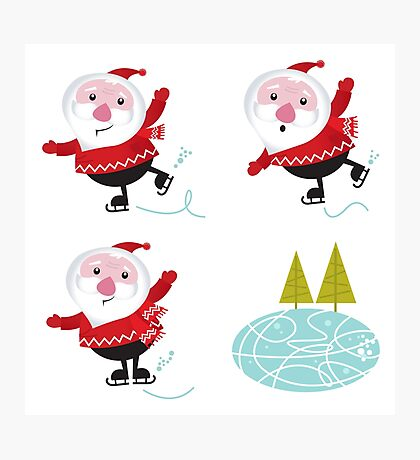 Cute series of ice skating Santas Photographic Print