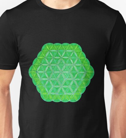 Flower of Life - Green and Yellow Painted Mandala - Colourful Dots Unisex T-Shirt