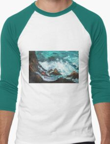 Pacific Rocks California Seascape Acrylics On Paper Fine Art Contemporary Painting Men's Baseball ¾ T-Shirt