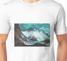 Pacific Rocks California Seascape Acrylics On Paper Fine Art Contemporary Painting Unisex T-Shirt