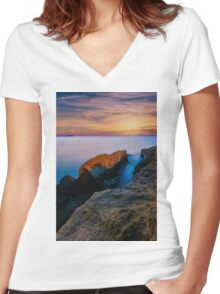 Knife edge rock at dawn Women's Fitted V-Neck T-Shirt