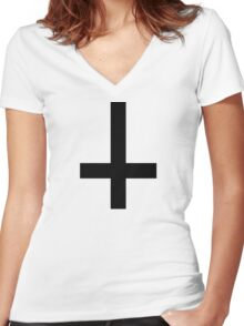 Cross antichrist Women's Fitted V-Neck T-Shirt