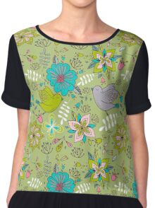 Sweet flowers and birds in flight, a cute line drawing pattern on a fun lime green background, classic statement fashion clothing, soft furnishings and home decor   Chiffon Top