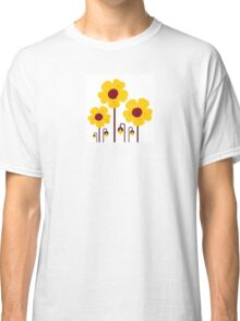 Retro yellow flowers : this is original hand-drawn illustration Classic T-Shirt