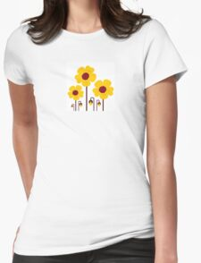 Retro yellow flowers : this is original hand-drawn illustration Womens Fitted T-Shirt