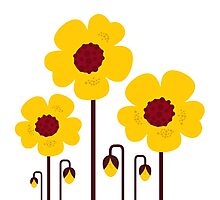 Retro yellow flowers : this is original hand-drawn illustration Photographic Print