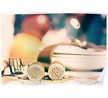 Salt And Pepper With Cutlery In Picnic Basket Poster