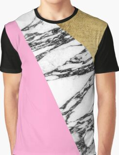Girly Modern Pink Gold and Marble Triangular Cut Graphic T-Shirt