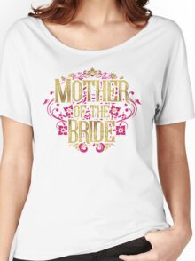 Mother Of The Bride Gold Foil Pink Glitter Appearance Ornate Scroll Wedding Bachelorette Bridal Shower Engagement Women's Relaxed Fit T-Shirt