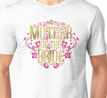 Mother Of The Bride Gold Foil Pink Glitter Appearance Ornate Scroll Wedding Bachelorette Bridal Shower Engagement Unisex T-Shirt