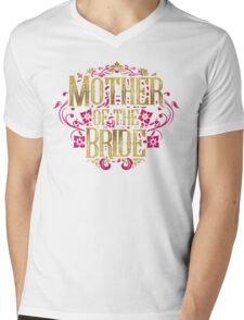 Mother Of The Bride Gold Foil Pink Glitter Appearance Ornate Scroll Wedding Bachelorette Bridal Shower Engagement Mens V-Neck T-Shirt