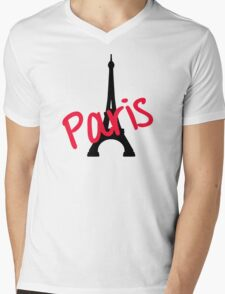 Paris Eiffel Tower Mens V-Neck T-Shirt