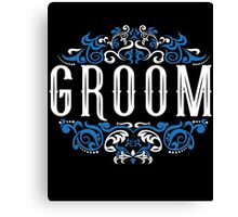 Groom Bride Blue White Black Ornate Scroll Wedding Bachelor Party Stag Groom's Mob Engagement Canvas Print