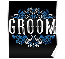 Groom Bride Blue White Black Ornate Scroll Wedding Bachelor Party Stag Groom's Mob Engagement Poster
