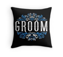 Groom Bride Blue White Black Ornate Scroll Wedding Bachelor Party Stag Groom's Mob Engagement Throw Pillow