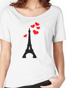Eiffel Tower Paris hearts Women's Relaxed Fit T-Shirt