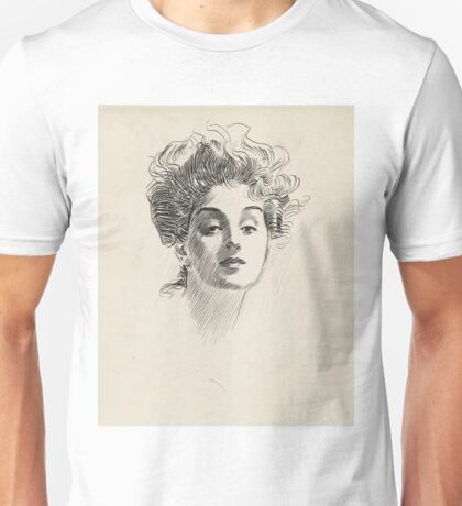 Head of a Girl - Charles Dana Gibson drawing - ca. 1920 Unisex T-Shirt