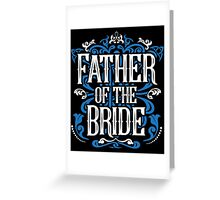 Father of the Bride Groom Blue White Black Ornate Scroll Wedding Bachelor Party Stag Groom's Mob Engagement Greeting Card