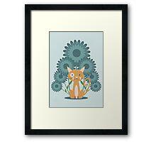 Cat in the Flowerfield Framed Print