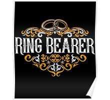 Ring Bearer Groomsmen Groom Bride Blue White Black Ornate Scroll Wedding Bachelor Party Stag Groom's Mob Engagement Poster