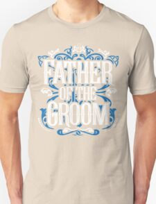 Father of the Groom Bride Blue White Black Ornate Scroll Wedding Bachelor Party Stag Groom's Mob Engagement Unisex T-Shirt
