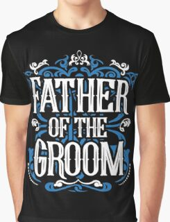 Father of the Groom Bride Blue White Black Ornate Scroll Wedding Bachelor Party Stag Groom's Mob Engagement Graphic T-Shirt