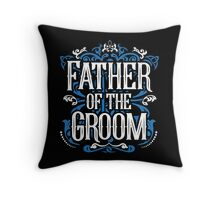 Father of the Groom Bride Blue White Black Ornate Scroll Wedding Bachelor Party Stag Groom's Mob Engagement Throw Pillow