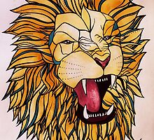 Watercolour and Ink Lion by Cassandra Kotvojs