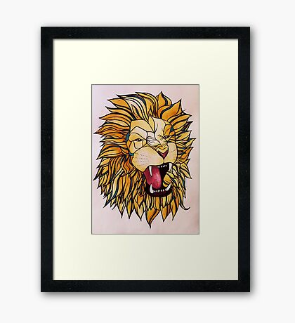 Watercolour and Ink Lion Framed Print