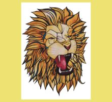 Watercolour and Ink Lion One Piece - Short Sleeve