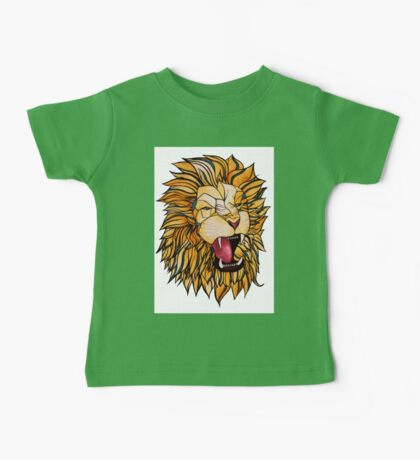 Watercolour and Ink Lion Baby Tee