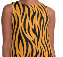 Tiger stripes print, fun bold animal print design in black and orange, classic statement fashion clothing, soft furnishings and home decor  Contrast Tank