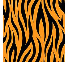 Tiger stripes print, fun bold animal print design in black and orange, classic statement fashion clothing, soft furnishings and home decor  Photographic Print