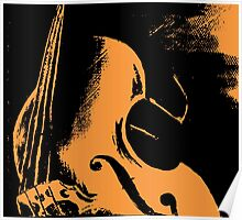 Double Bass Silhouette Painting Poster