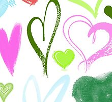 Love, Romance, Hearts - Red Blue Pink Green by sitnica