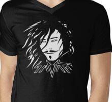 Savant - White and black Mens V-Neck T-Shirt