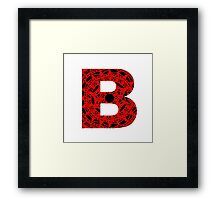 Black,Red,Letter,Initial,Alphabet,B,Lace Framed Print