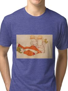 Egon Schiele - Wally In Red Blouse With Raised Knees 1913 Tri-blend T-Shirt