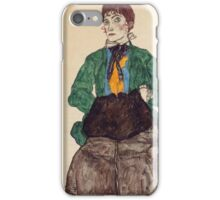 Egon Schiele - Woman In A Green Blouse And Muff 1915 iPhone Case/Skin
